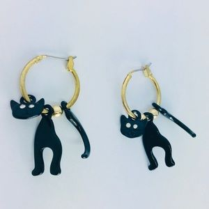New! 3D Rhinestone Kitty Cat Hoop Earrings